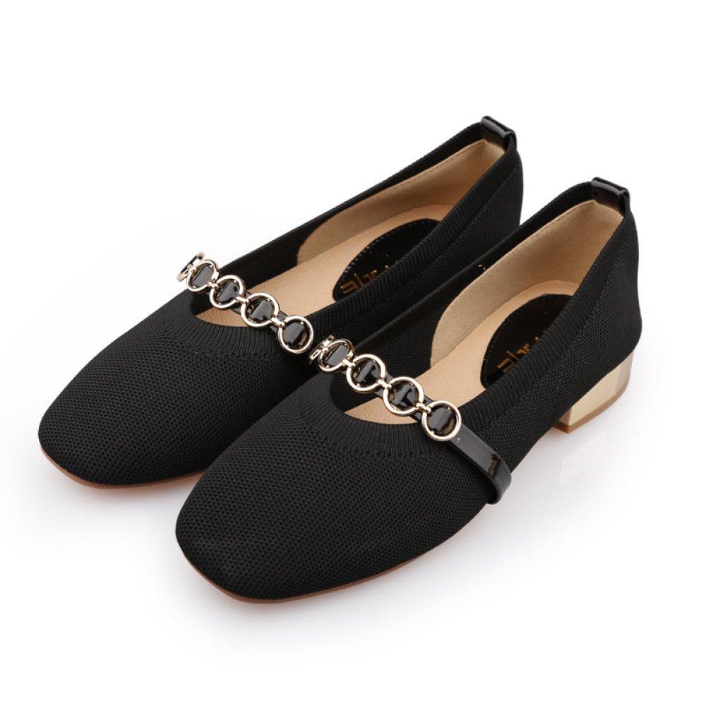 SBL der Quadratische Kopf des Herbstes Flacher Mund, der mit und Strickwaren der Retro- Art und mit Weise beiläufigen Schuhen der Niedrigen Ferse der Niedrigen Metallschnalle Stark ist,Schwarz,38 - 5ecec9
