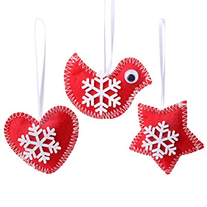 partytalk15pcs red felt christmas tree ornaments with white snowflakes handmade cute christmas ornaments for christmas decorations - Handmade Felt Christmas Decorations