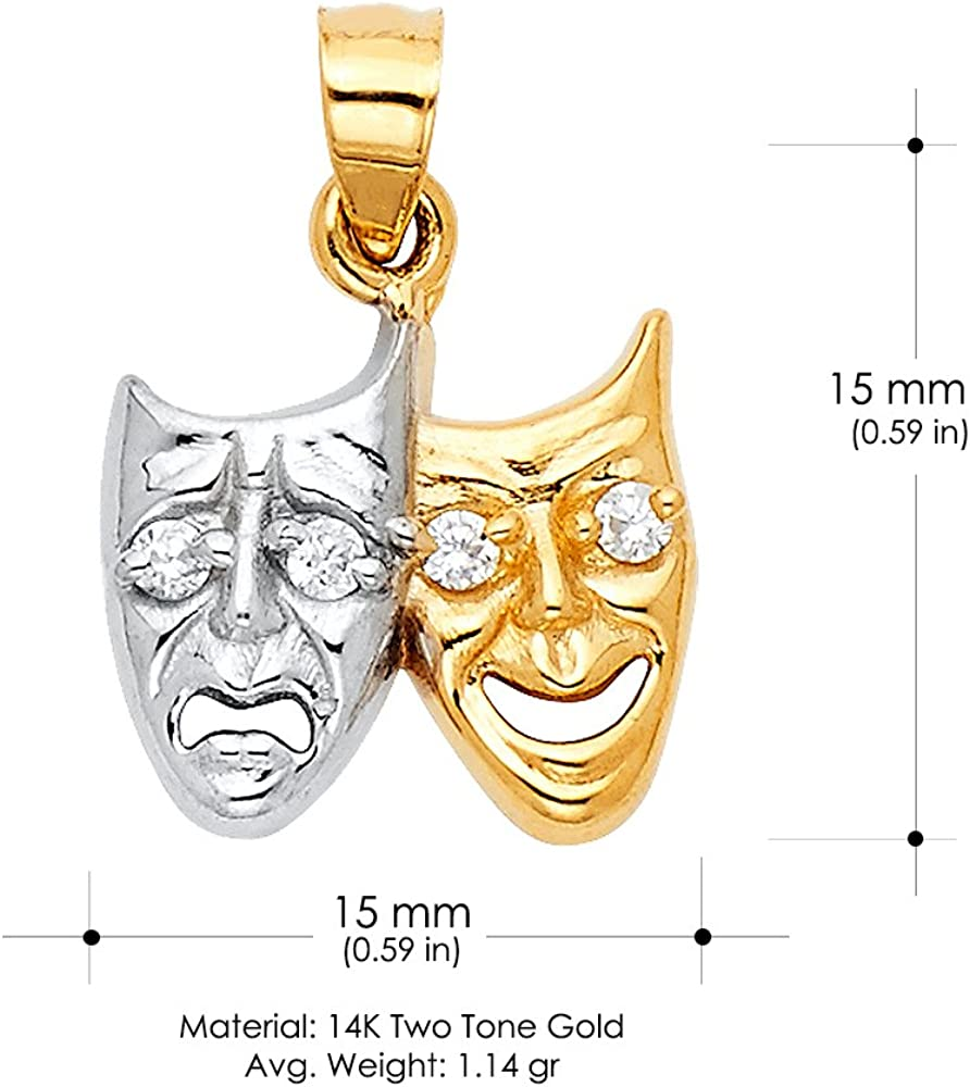 14K Two Tone Gold Two Face Happy and Sad Charm Pendant with 0.9mm Singapore Chain Necklace