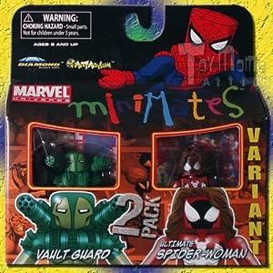 61CIjtWJBjL. SS300 DIAMOND SELECT TOYS Marvel MiniMates 30: Variant Ultimate Spider-Woman & Vault Guard