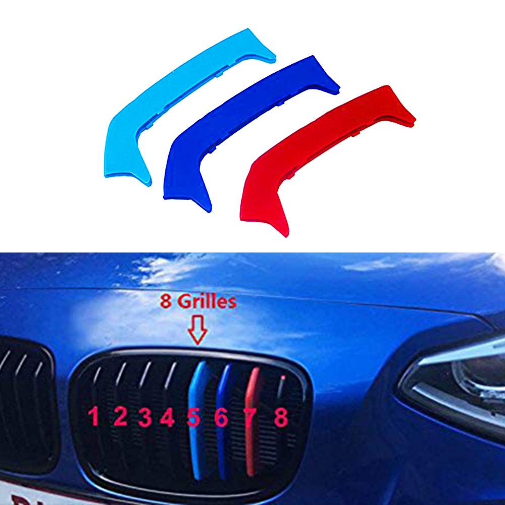 12 Grille For B M W 1 Series E87 120i 130i 2004-2011 Sharp Corner 3D Front Grille Strips Motor sports M Color Insert Trim Grill Cover Stickers Decoration