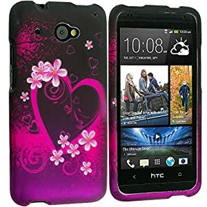 Accessory Planet(TM) Purple Love 2D Hard Snap-On Design Rubberized Case Cover Accessory for HTC Desire 601 Zara