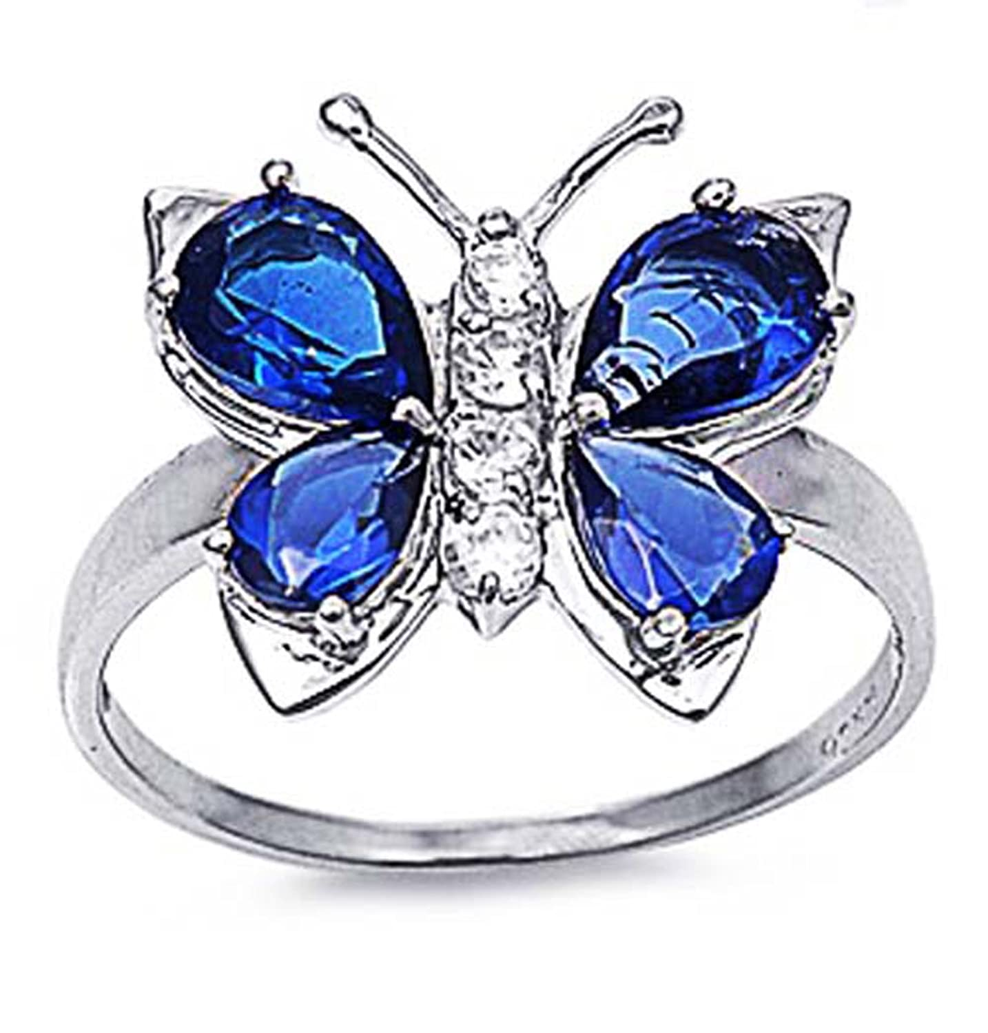 Sterling Silver Deep Blue Color CZ Butterfly Ring 7MM ( Size 5 to 10 )