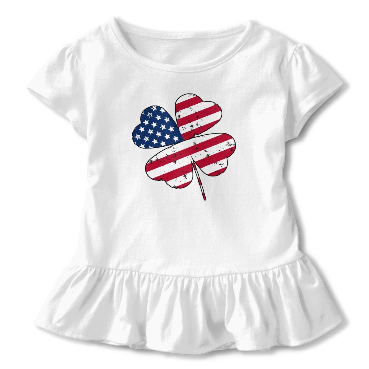 Shamrock Shaped Distressed American Flag Toddler Baby Girls Cotton Ruffle Short Sleeve Top Basic T-Shirt 2-6T