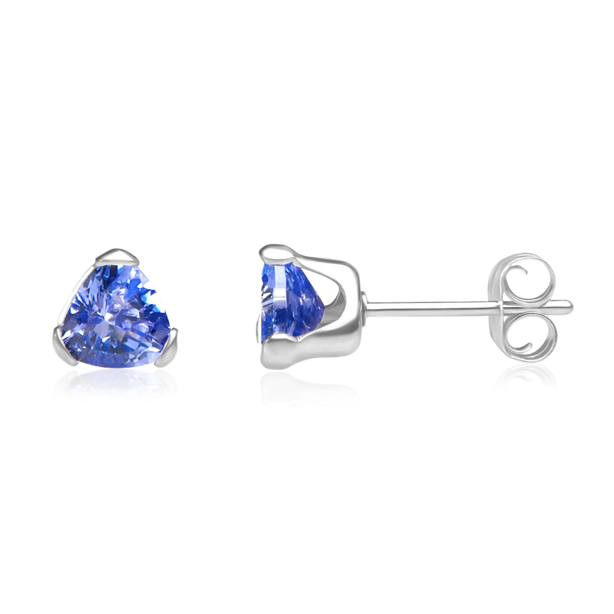 Sterling Silver Trillion Tanzanite Stud Earrings - 1 cttw