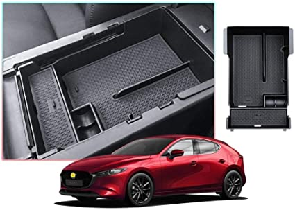 Caja de almacenamiento de la central del coche for Mazda 3 2019 cuarto antideslizante de goma del reposabrazos de control de almacenamiento de Caja Auto Accesorios Interior