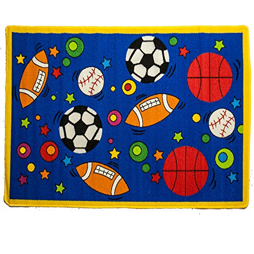 (Mybecca Fun Kids Rug Sports Design #2 for Nursery & Playroom (Approx. 5ft x 7ft))