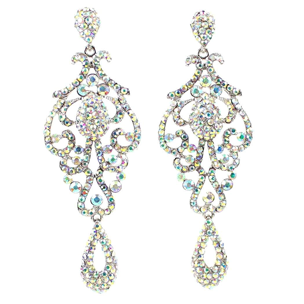 ed82782edc4 Large Pageant Clear White Teal Pink AB Blue Austrian Crystal Rhinestone  Chandelier Dangle Drop Earrings Studs Prom Party Silver or Gold Plated  Bridal ...