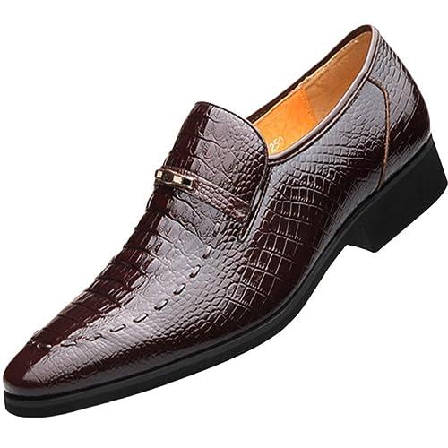 Zapatos De Cuero De Hombres Marrones Corbata Formal Suave Comercio ...