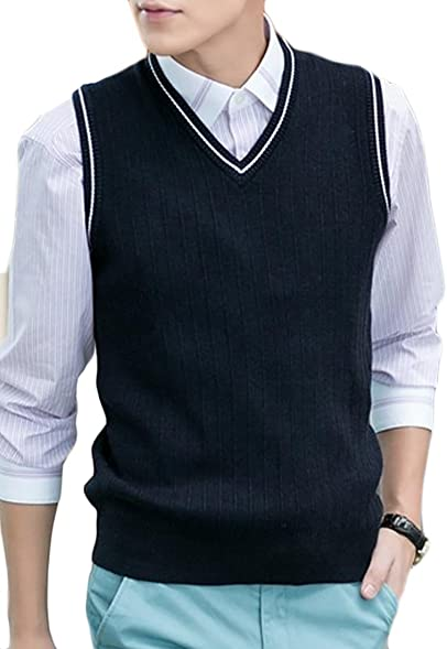 Cruiize Mens Various Color Casual Slim Fit Sweater Vest Knitwear ...