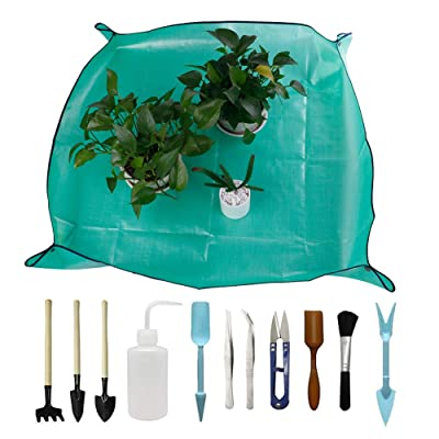 DINGJIN 1 Pcs Garden Kneelers Work Cloth Anti Dirty Gardening Transplanting Pot Pad with 11 Pieces Mini Garden Hand Transplanting Succulent Tools for Indoor Garden Plant Care : Garden & Outdoor