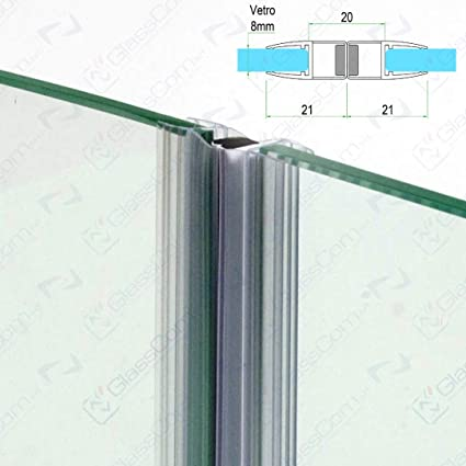 Ante Scorrevoli In Vetro.220cm Guarnizione Magnetica Calamita Per Box Doccia Con Due Ante