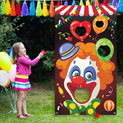 Carnival Toss Games with 3 Bean Bag, Fun Carnival Game for Kids and Adults in Carnival Party Activities, Great Carnival Decorations and Suppliers (Clown) -