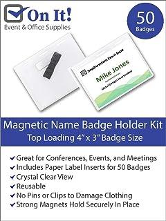 Amazon com : C-Line Magnetic Style Name Badge Kit, 4 x 3