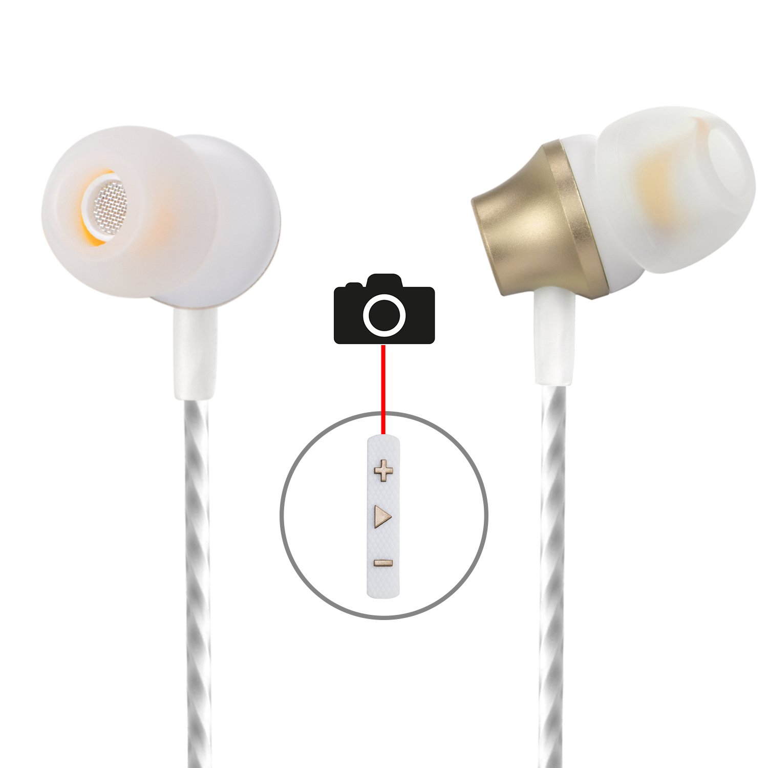Earbuds with Selfie, Kicoeoy Wired in Ear Noise Isolating Headphone with Remote Mic Volume Control Metal Housing Best Stereo Bass for All 3.5mm Audio Devices Gold