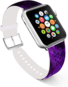 Ecute Compatible with Apple Watch Band 38mm 40mm, Soft Leather Band Strap Compatible with iWatch Series 6/5/4/3/2/1 - Flowing Rainbow
