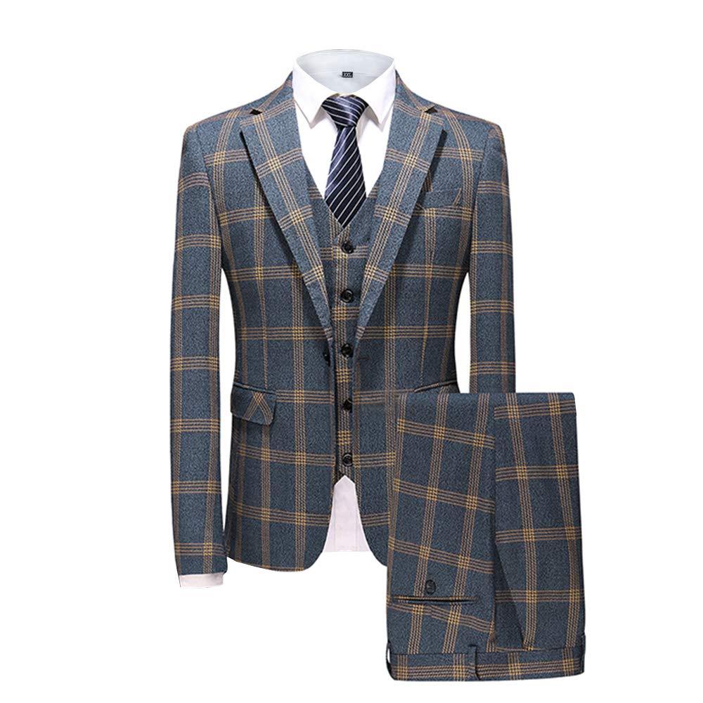 MAGE MALE Mens Plaid Tweed 3 Piece Suit Slim Fit One Button Tuxedo Dinner Jacket Pants Tux Vest