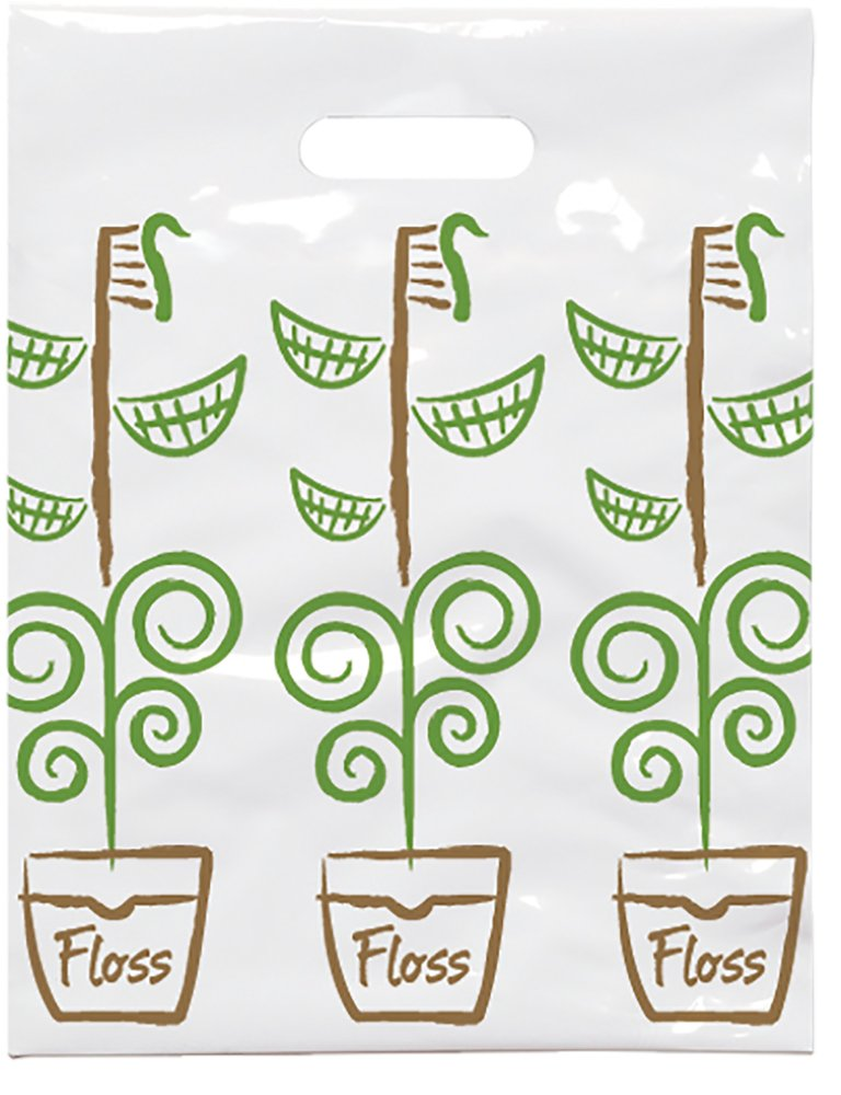 Practicon 1109687 Growing Smiles Scatter Print Bags, 9'' x 12'' (Pack of 100)