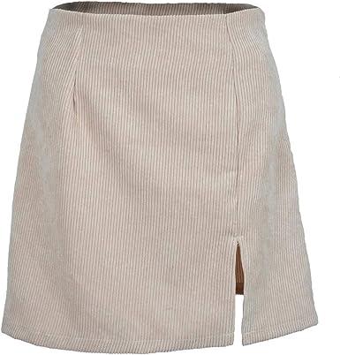 SOWTKSL - Mini Falda de Pana para Mujer (Cintura Alta, Color Puro ...