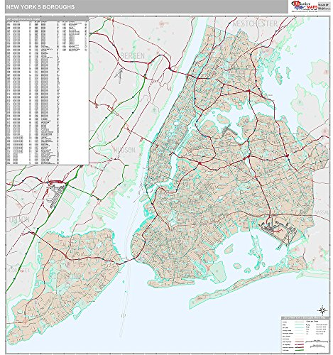 - New York 5 Boroughs, NY City Wall Map (Premium Style, Wooden Rails, 48x52 inches)