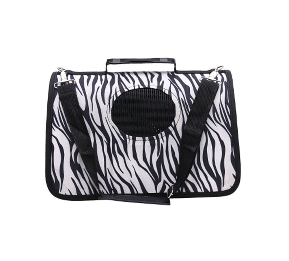 Pet Carrier Soft Sided Travel Bag for Small Dogs & Cats- Airline Approved, Zebra