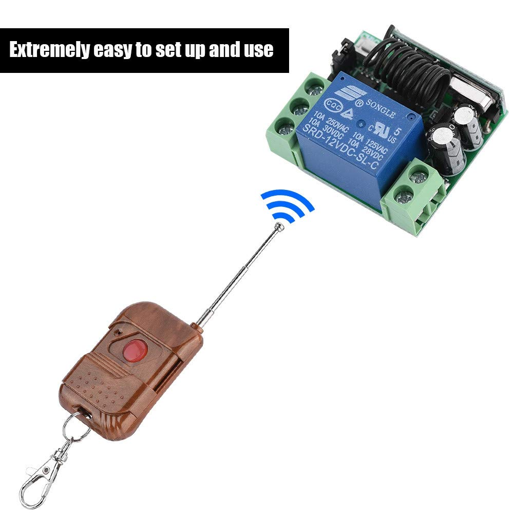 Interruptor Individual multifunci/ón MHz para Mando a Distancia Zerone Rel/é Interruptor 12/V