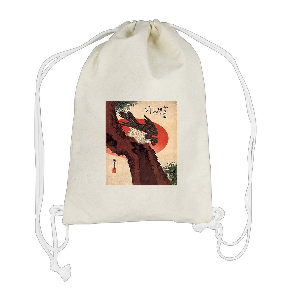 Falcon On A Pine Rising Sun (Hiroshige) Cotton Canvas Backpack Drawstring Bag