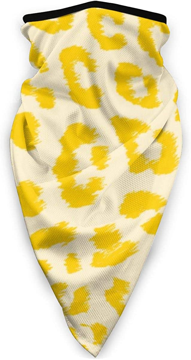 Wind-Resistant Face Mask/& Neck Gaiter,Balaclava Ski Masks,Breathable Tactical Hood,Windproof Face Warmer for Running,Motorcycling,Hiking-Butter Yellow Leopard Print