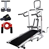 Lifeline 4 in1 Deluxe Treadmill Machine for Walking and Jogging at Home|Bonus Tummy Trimmer & Sweat Belt for Stomach Exercises