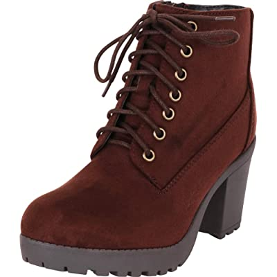 Cambridge Select Women's 90s Lace-Up Chunky Platform Block Heel Ankle Bootie | Shoes