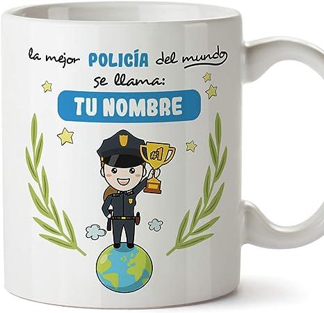policía. Tazas originales personalizadas con tu nombre de café y desayuno para regalar - Esta taza pertenece a la mejor policía del universo - Cerámica 350 ml - Personalizable café y desayuno: Amazon.es: Hogar