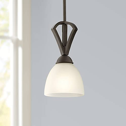 Milbury Bronze Mini Pendant Light 6 Wide White Frosted Glass Fixture for Kitchen Island Dining Room – Possini Euro Design