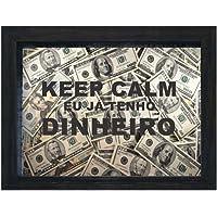 Quadro Cofre Keep Calm Dolar Kapos Preta 15X20X4