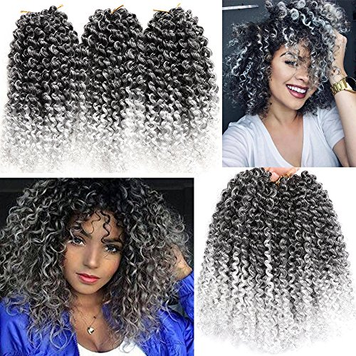 6 Packs Marlybob crochet hair afro kinky curly hair crochet braids curly wave crochet braiding hair synthetic hair extension (T1B/GRAY) ()