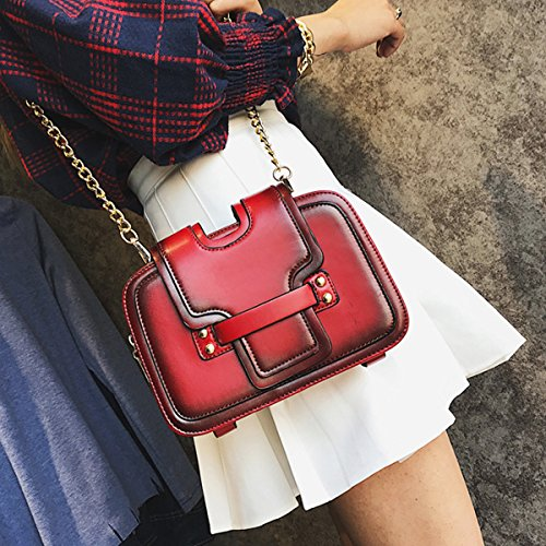 Vintage Crossbody Chain Solid Women Bag Fashion ZLMBAGUS Leather Faux Red Wallet Clutch Shoulder Bag 0SYPqZ