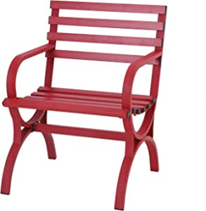 Sophia & William Outdoor Garden Park Bench Patio Metal Single Seater Chair, Steel Frame Furniture with Backrest and Armrests for Porch Yard Lawn Deck, Red