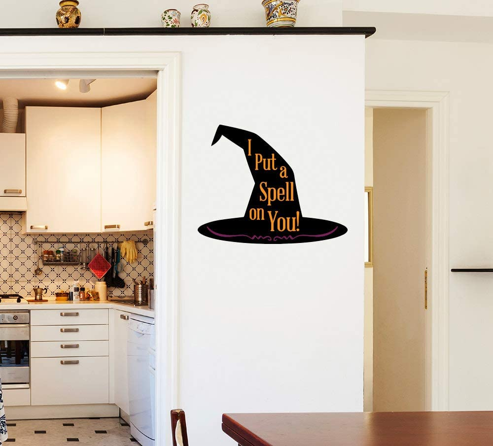 """Lplpol Funny 10"""" Vinyl Sticker Witch's""""I Put A Spell On You"""" Hat Halloween Wall Sticker Windows Wall Cars Trucks Laptops Decal"""