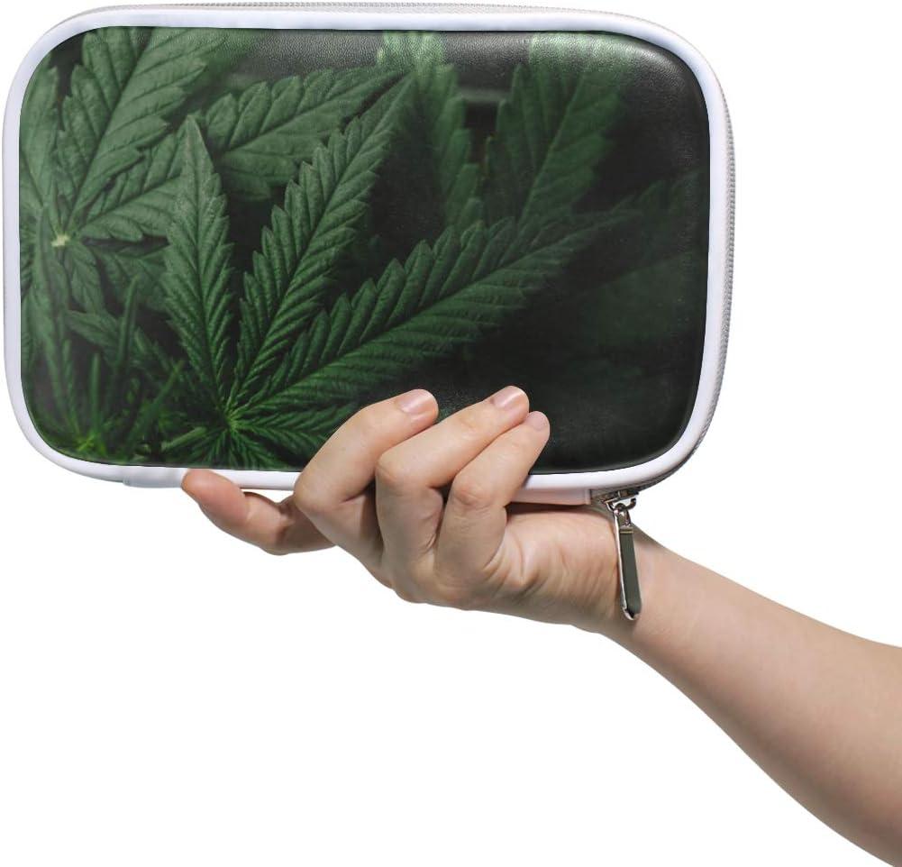 Bolsa de transporte cosmética Hojas de marihuana Cannabis On Dark Bolsa de aseo de viaje Mujer Bolso de pluma para niñas Bolsa de cosméticos de belleza multifuncional para hombres Mujeres