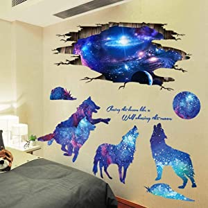 Amaonm 3D Blue Starry Sky Wolf Moon Wall Decals Removable PVC Magic 3D Milky Way Outer Space Planet Wall Sticker Peel Stick Home Decor for Kids Baby Bedroom Boys Girls Nursery Room Ceiling Living Room