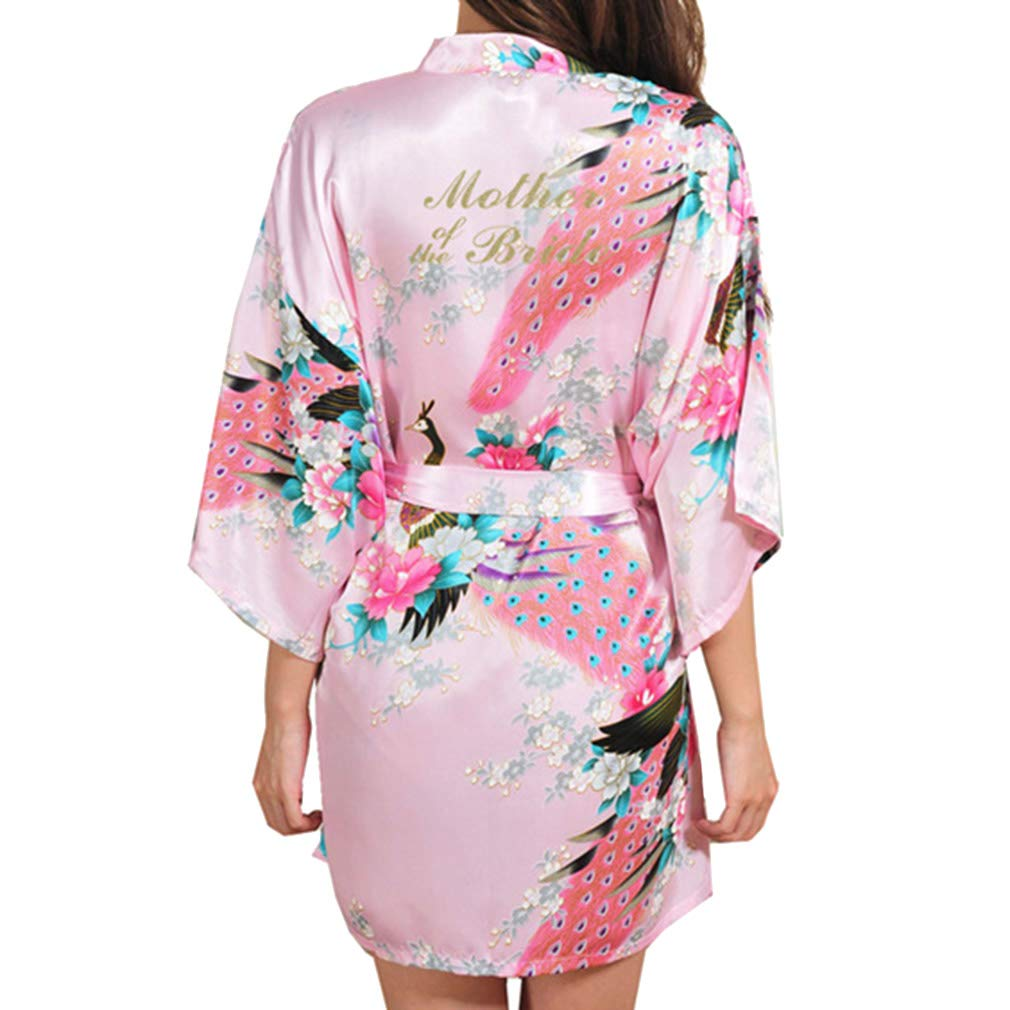 Yying Peacock Robe Madre de la Novia Carta Bata Albornoz Kimono Bata Nocturna Bata de Ba/ño Bata