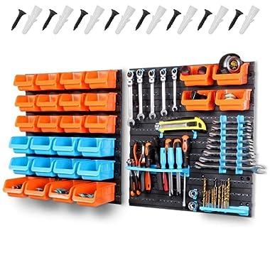 HORUSDY Wall Mounted Storage Bins Parts Rack 44 Bin Organizer Garage Plastic Shop Tool(44-Piece)