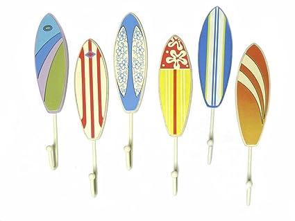 6 ganchos de toalla de madera Tabla de surf