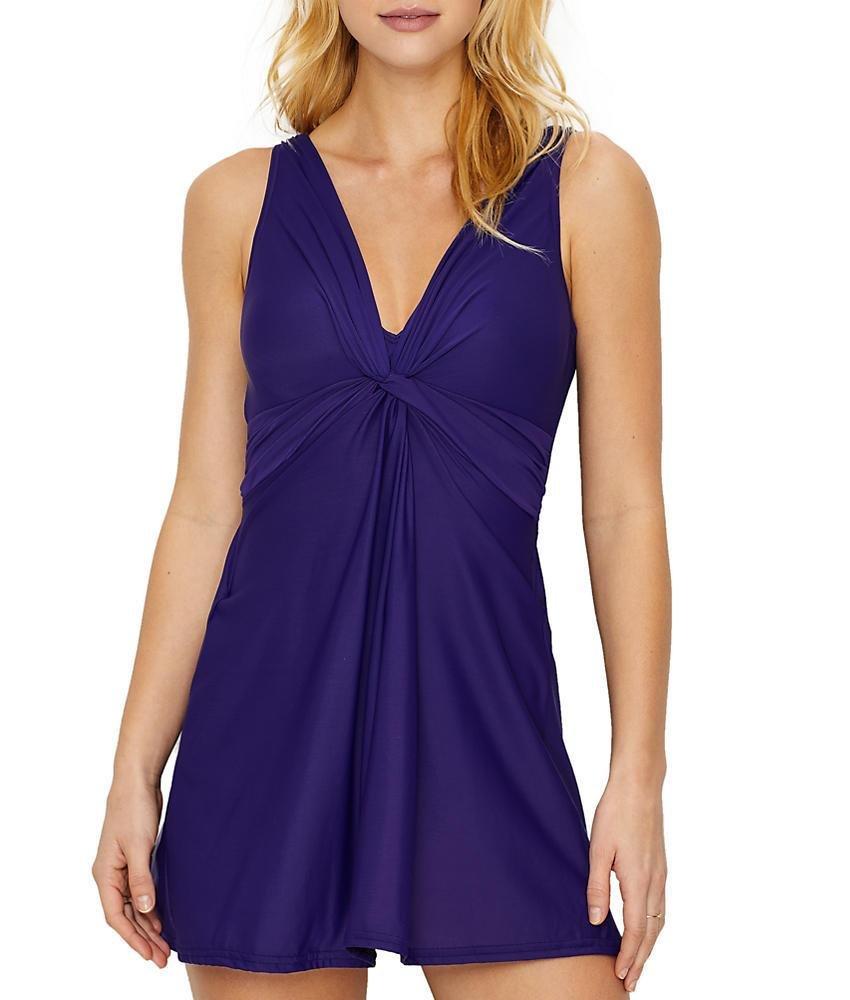 Miraclesuit Must Have Marais Wire-Free Swim Dress, 12, Eggplant