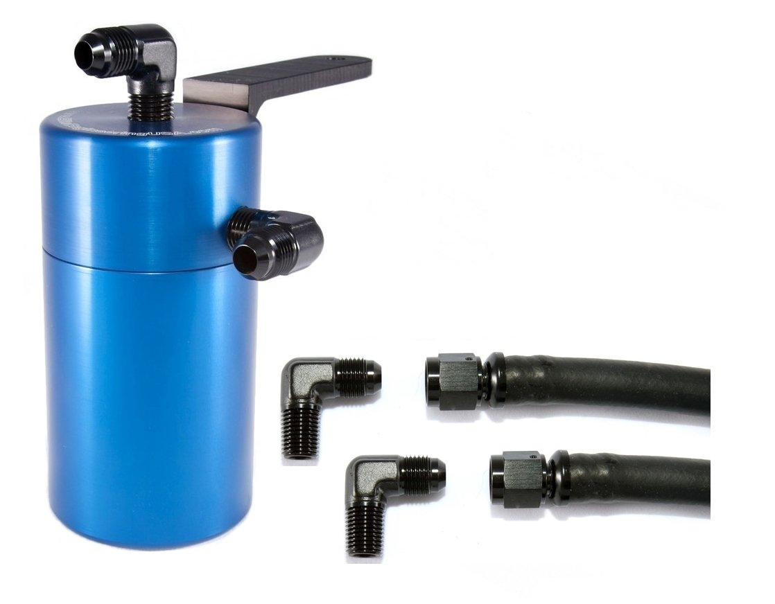 Elite Engineering Standard PCV Oil Catch Can & Hardware with Black AN Fittings for 2014+Chevy/GMC Truck 6.2L/5.3L - BLUE by Elite Engineering USA
