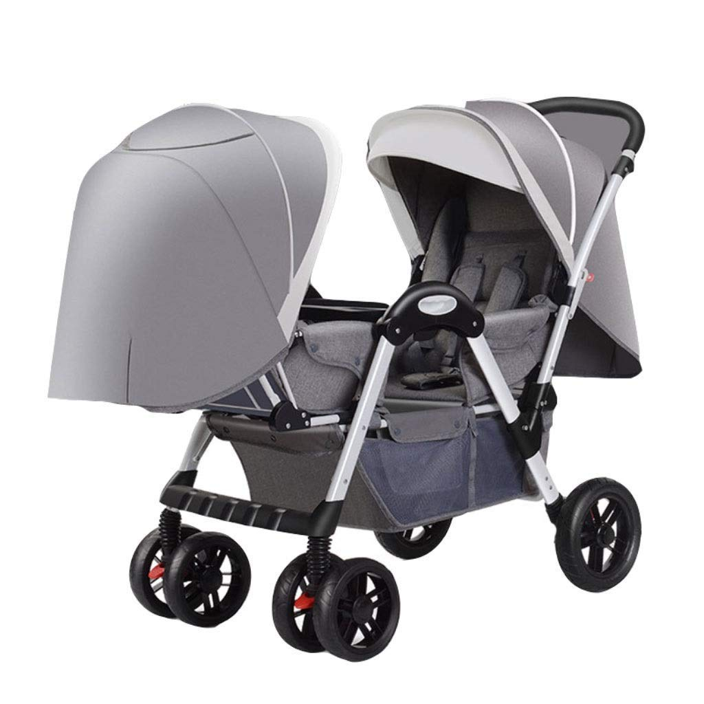 DLJFU - Baby Strollers Twin Baby Strollers for Boy and Girl Can Sit Reclining Double Face to Face with Shock Folding Trolley