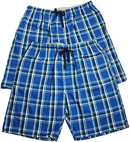 Hanes - Mens 2 Pack Cotton Blend Woven Plaid Lounge Pajama Sleep Short, Blue 41203-X-LargeTall