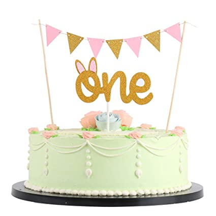 Amazon LVEUD Pink Bunting Banner Cake Topper And 2pc ONE