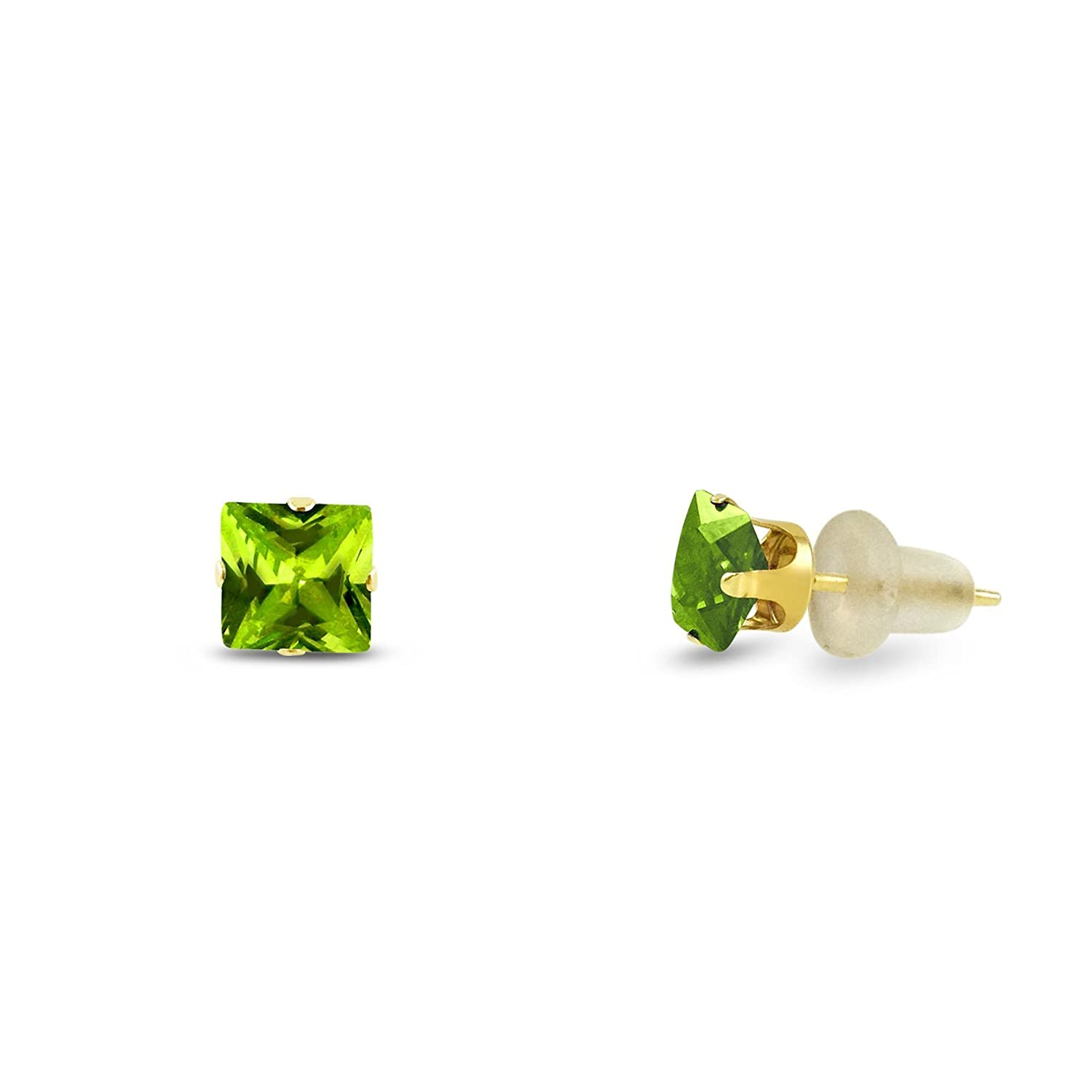 2x2 Square Princess Cut Gemstones Available in Solid 10K White or Yellow Gold 4-Prong Set Stud Earrings
