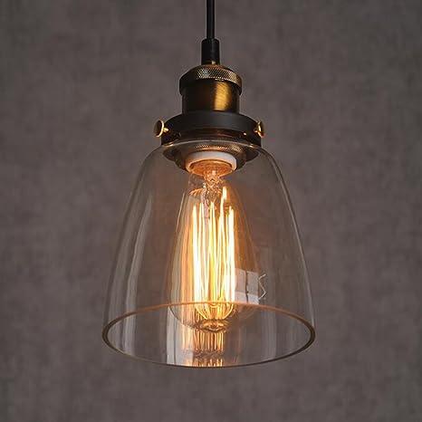 Glass Shade Lámpara de techo empotrable Vintage Retro H?ngende lámpara de luz de E27 Cap sin GL ¨ ¹ hlampe