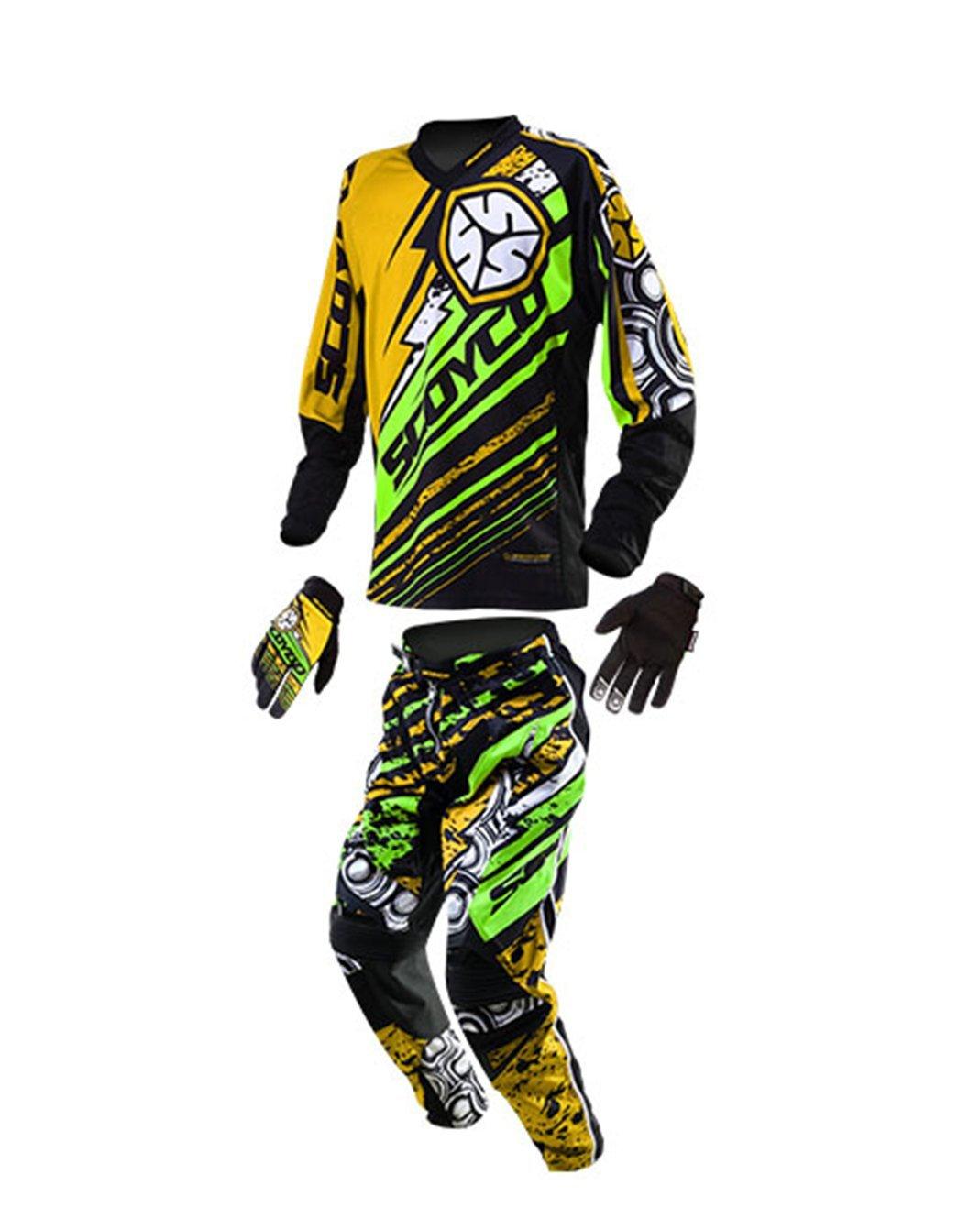 バイクジャケットセット ライダースジャケット レーシングジャケット パンツ グローブ 3点セット バイクウェアセット 春 夏 秋 B01GLJO2V6 緑Tシャツ+パンツ XXL~